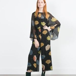 Zara Flowy Loose Fit Floral Jumpsuit - Size Small